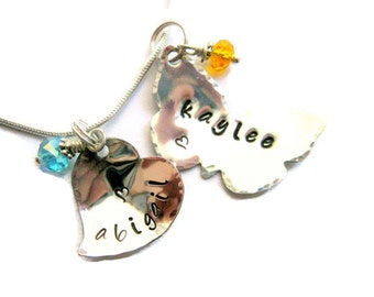 Heart and Butterfly Silver Charms Hand Stamped Metal Charm Necklace  -made to order