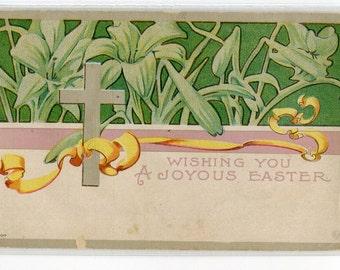 Easter Postcard, vintage postcard, Easter Greetings, Easter ephemera  Cross and lilies vintage postcard, SharonFosterVintage