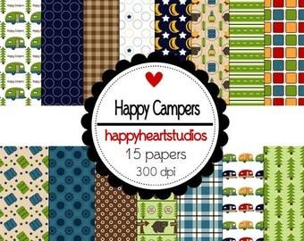 Digital Scrapbook HappyCampers-INSTANT DOWNLOAD