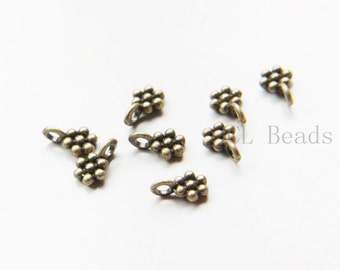 100pcs Antique Brass Tone Base Metal Charms-Drop 9x6mm (16412Y-O-279)