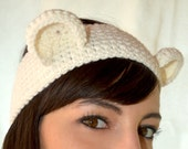 Bear, mickey mouse, panda ears headband in warm wool, ear warmer - Made to order