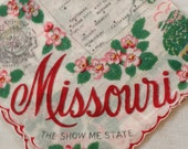 Vintage Missouri Souvenir Handkerchief