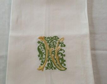 Vintage Monogram N Fingertip Towel