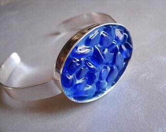 Cuff Bracelet - Sea Glass Bracelet - Blue Sea Glass - Beach Glass Jewelry