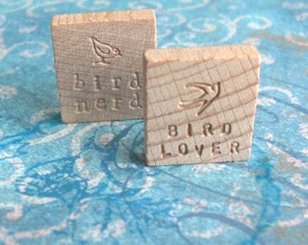 Bird Lover Letterpress Keepsake .. Bird Nerd Vintage Blank Scrabble Tile .. Hand stamped .. Awesome marriage proposal .. engraved souvenir