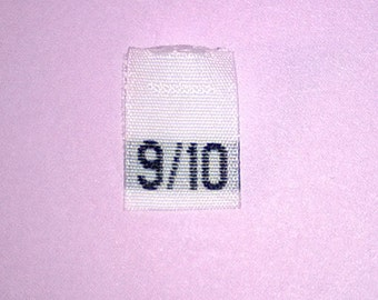 Size 9/10 (Nine-Ten) Woven Clothing Size Tags (Package of 50)