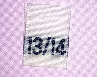 Size 13/14 (Thirteen-Fourteen) Woven Clothing Size Tags (Package of 500)