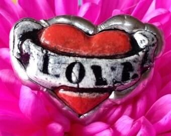 """Porcelain """" love """" ring"""