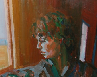 Mid Century Modern Impressionist Modernist Painting of Woman Looking out the Window by Barnfather