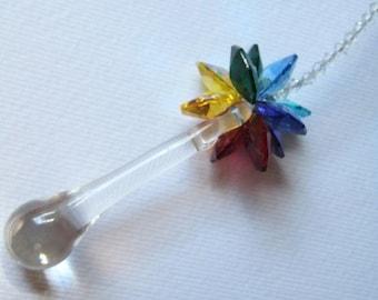 Swarovski Crystal Raindrop Rainbow Suncatcher-Car Charm FREE Shipping to US