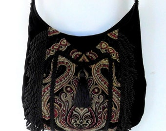 Fringed Gypsy Tapestry Bag  Messenger Renaissance Crossbody Black Velvet Boho Purse