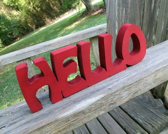 wood hello sign shelf sitter or wall hanging choice of colors