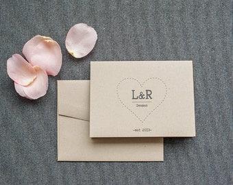 Kraft Brown Heart Wedding Thank You Card
