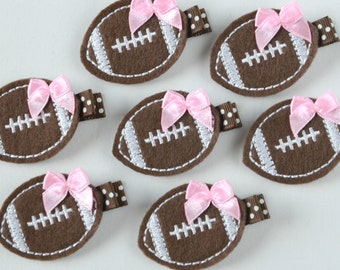 Chocolate Brown, White and Pink Football Felt Hair Clip - Sports Felt Clippies - Perfect for your football fan and the Superbowl