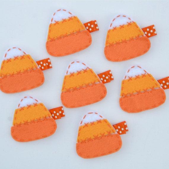 Halloween Candy Corn Felt Hair Clip - Cute Halloween Clippies - Fall and Autumn Felt Hair Bows