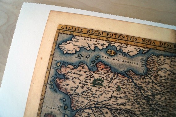 "France - Antique Map Print on Eco Bamboo paper with textured edge - Made in Canada! 8.5"" x 11"" & 11"" x 17"""