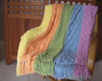 Knitted Afghan in Tropical Colors
