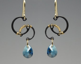 Europa II v4: Bold industrial wire wrapped earrings with aquamarine Swarovski crystals