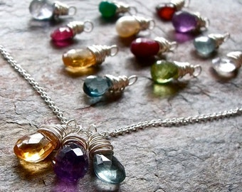 Custom Birthstone Necklace - Genuine Gemstones and Sterling Silver - Stone Pendants on Sterling Silver Chain