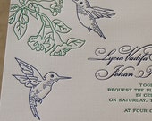 Letterpress Wedding Invitation, Wedding invitation, Hummingbirds wedding invitation, Hummingbirds invitation, Wedding invitations, Birds