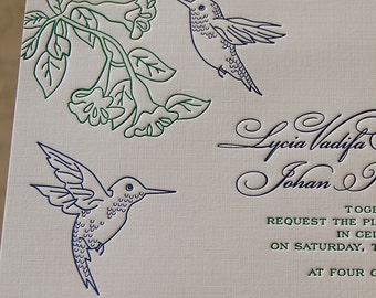 Letterpress Wedding Invitation sample, Wedding invitation, Hummingbirds wedding invitation, Hummingbirds invitation, Wedding invitations