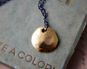 Brass Coin Charm Necklace Golden Textured Sterling Silver PoleStar Metal Contrast Silk Road - PoleStar