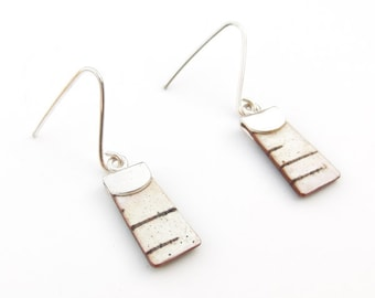 Extra small birch bark earrings, Petite