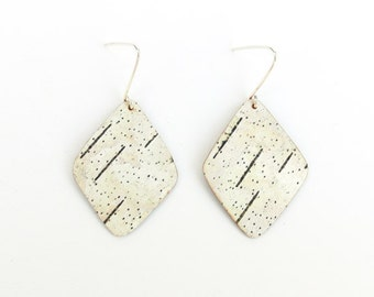Birch bark earrings, Small Angles