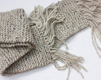 Mens Scarf, Winter Scarf, Mens Gift, Chunky Scarf,  Knit Scarf,  Long Scarf, Womans Scarf,  Beige Oatmeal Tweed Scarf