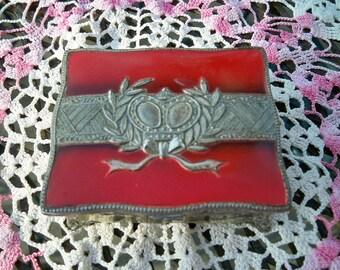 SALE! Vintage Occupied Japan Silvertone Crown Trinket Box Jewelry