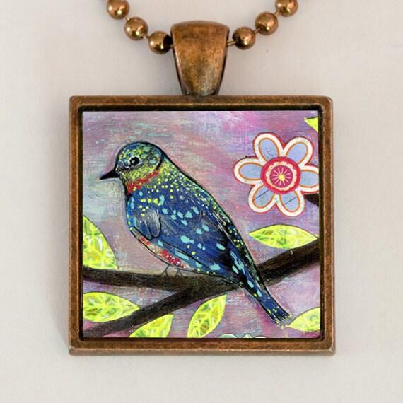 Bird Necklace Whimsical Handmade Art Jewelry