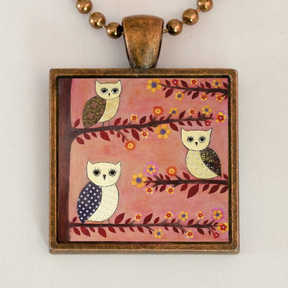 Owl Necklace Whimsical Handmade Art Jewelry