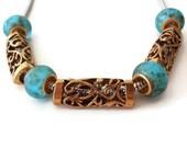 black Friday sale, 6 Tibetan Antique Gold Tube Bead, Jewelry making Supply, Filigree, Lead Free, Nickel Free