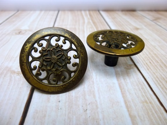 2 Filigree Drawer Pulls Knobs Handles Cabinet By