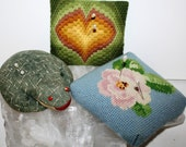 Antique Vintage 3 PINCUSHIONS, group of 3, Needle point flower,crewel heart and straw stuffed frog, mad men era, vintage sewing,hat pins,