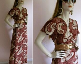 Psychedelic Swirls Vintage 1970 Maxi Dress