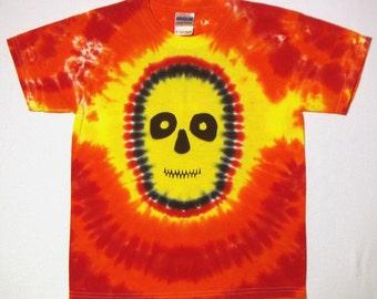Tie Dye Shirt, Skull Tie Dye T Shirt, Youth Medium