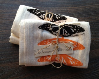 Monarch Butterfly Flour Sack Napkins in All Natural Cotton - Set of 2