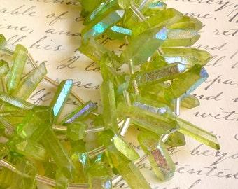 Peridot Green Rainbow Mystic  Crystal Quartz Point Briolette Beads, Great Pencil Point Briolettes