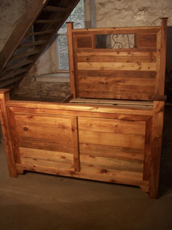 craftsman style platform storage bed from reclaimed wood and. Black Bedroom Furniture Sets. Home Design Ideas