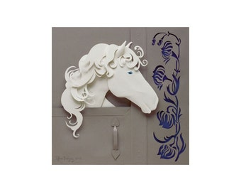 Companion (Horse) - 8 x 8 art print of an original paper sculpture by Tiffany Budzisz