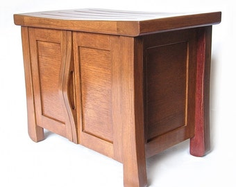 Elf, small oak cabinet bench recycled wine fermentation tanks, shoe storage