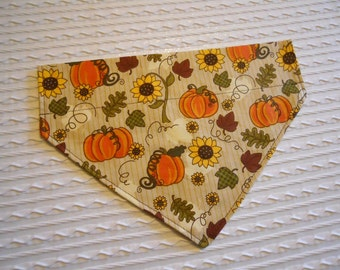 Dog Bandana with Pumpkins & Sunflowers Sizes S to L in Over Dog Collar Style