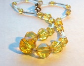 1930s Necklace / Sunshine Lemon Yellow Glass Faceted Crystals / Single Strand - AnotherTimeAntiques