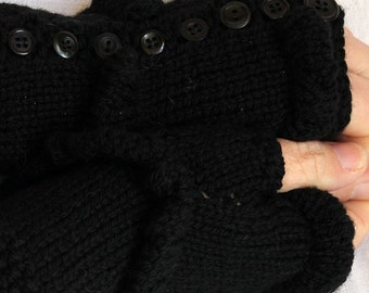 Handknit fingerless mittens with buttons