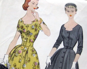 1950s Misses One Piece Dress Vintage Sewing Pattern - Rockabilly Style - McCall's 9779 / Size 16
