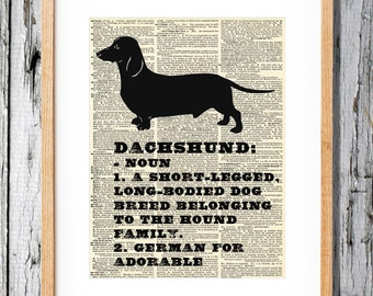 Dachshund Definition: German for Adorable - Art Print on Vintage Antique Dictionary Paper - Wiener Dog