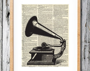 Vintage Gramophone Phonograph - Art Print on Vintage Antique Dictionary Paper - Record Player Horn Victrola