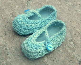 Baby Shoes Knitting Pattern -  Ocean Beach Baby Shoes - Booties Mary Janes - 2 Sizes: Newborn - 12 Mths