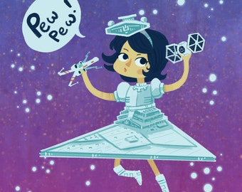 Pew Pew Star Destroyer Girl square art print